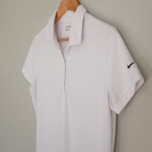 Nike Golf Dri-Fit Collared Short Sleeve White Top